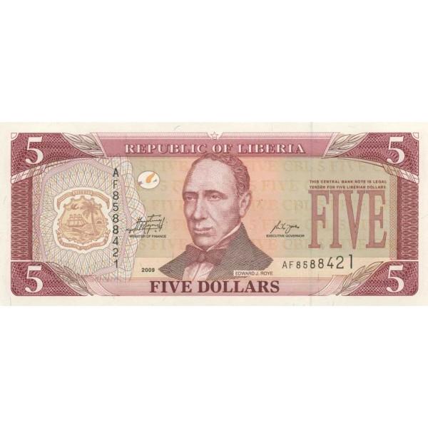 2009 - Liberia pic 26e billete de 5 Dólares