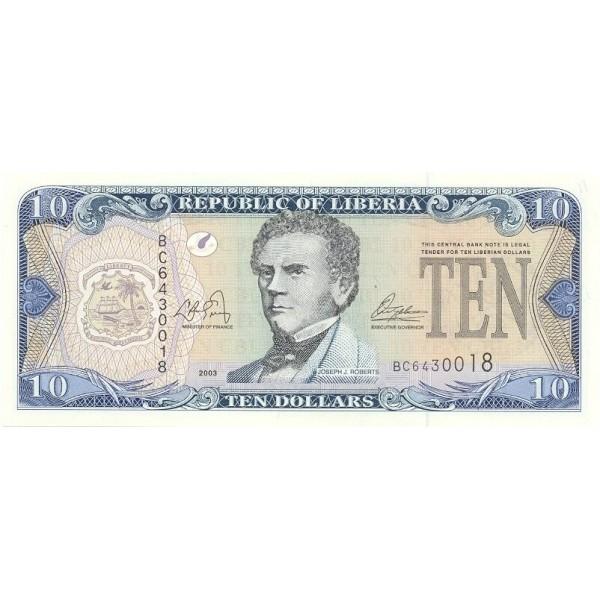 2003 - Liberia pic 27a billete de 10 Dólares