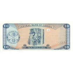 2003 - Liberia   Pic 27a    10 Dollars  banknote