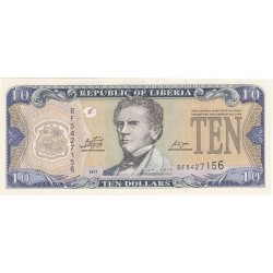 2009 - Liberia   Pic 27e    10 Dollars  banknote