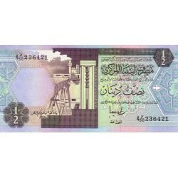 1991 - Libya PIC  58c   1/2 Dinar banknote  f 5