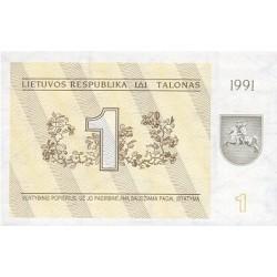 1991 - Lithuania PIC 32a    1 Talona banknote