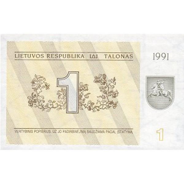 1991 - Lithuania PIC 32b    1 Talona banknote
