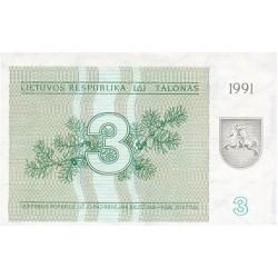 1991 - Lithuania PIC 33b    3 Talonas banknote