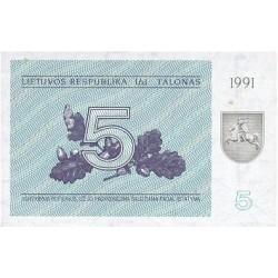 1991 - Lithuania PIC 34a    5 Talonas banknote