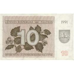 1991 - Lithuania PIC 35a          10 Talonas banknote
