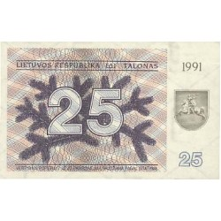 1991 - Lithuania PIC 36b    25 Talonas banknote