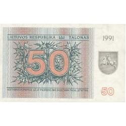 1991 - Lithuania PIC 37a    50 Talonas banknote