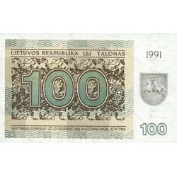 1991 - Lithuania PIC 38b    100 Talonas banknote