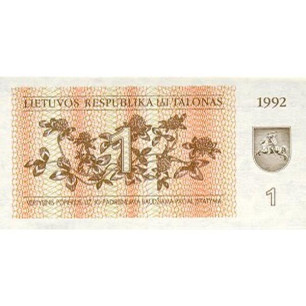 1992 - Lithuania PIC 39     1 Talona banknote