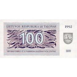 1992 -  Lithuania PIC 42    100 Talonas banknote