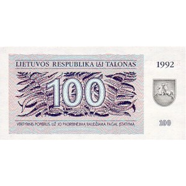 1992 -  Lithuania PIC 42    100 Talonas banknote