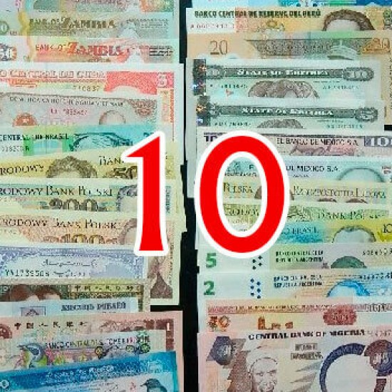 10 different world banknotes lot