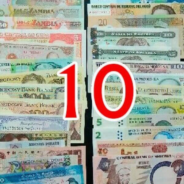 10 Billetes diferentes mundiales