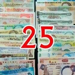 Batch of 25 different world banknotes