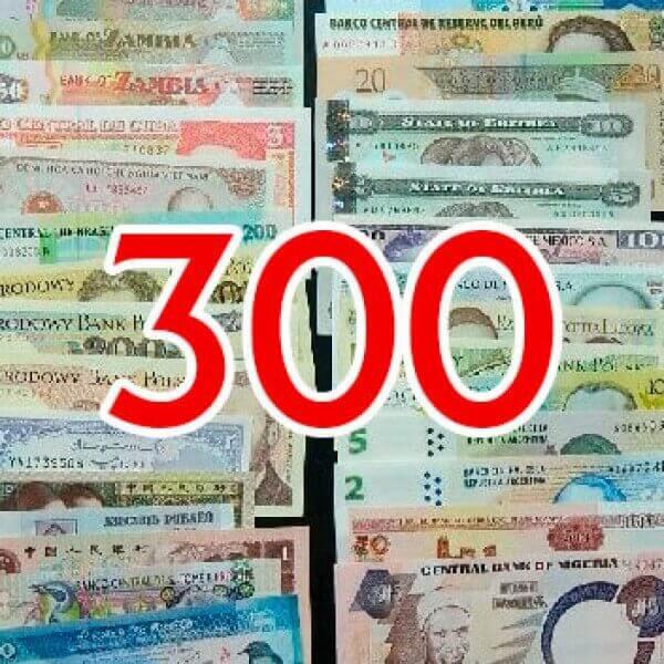 300 Billetes Diferentes mundiales