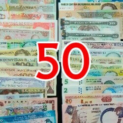 Batch of 50 different world banknotes