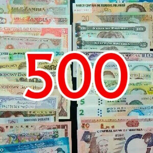 500 Billetes Diferentes mundiales