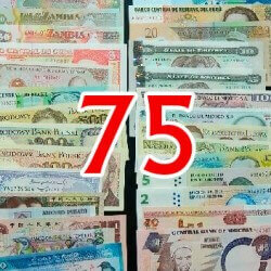 Batch of 75 different world banknotes