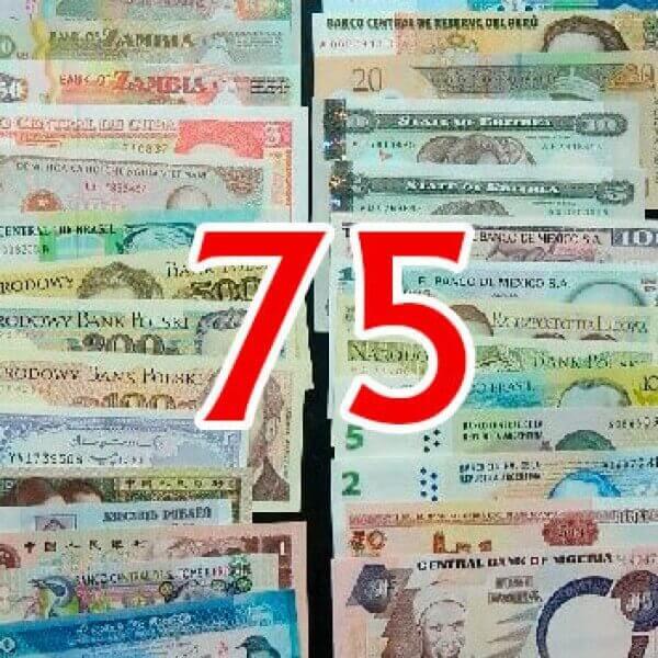 75 Billetes diferentes mundiales