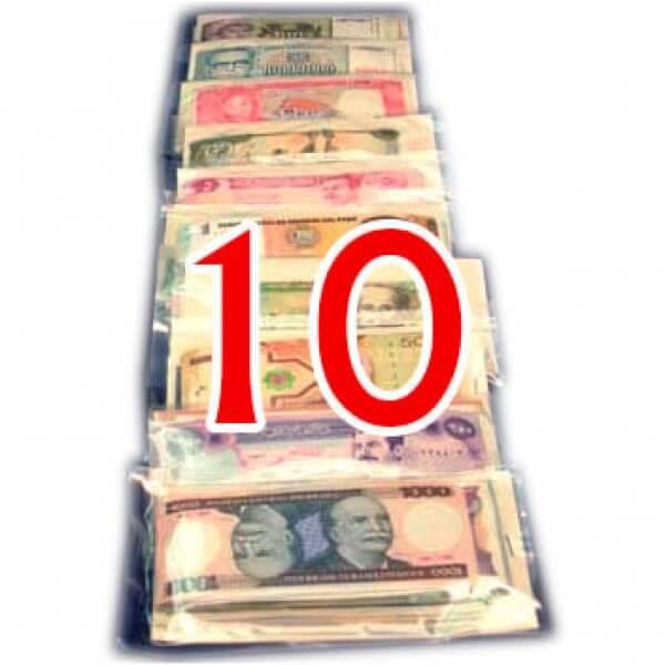 10 Billetes de diferentes Paises ,uno de cada Pais