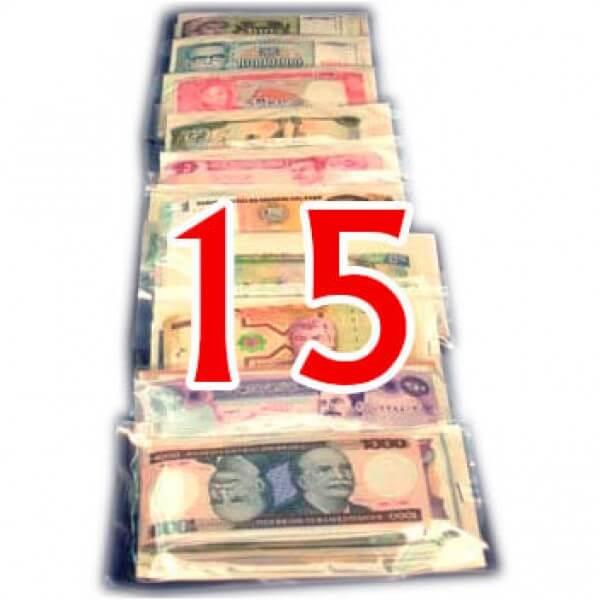 15 Billetes  de diferentes Paises ,uno de cada Pais