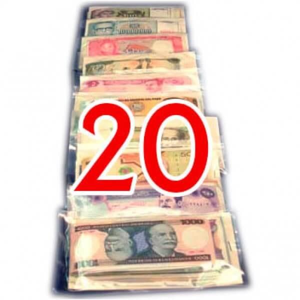 20 Billetes  de diferentes Paises ,uno de cada Pais