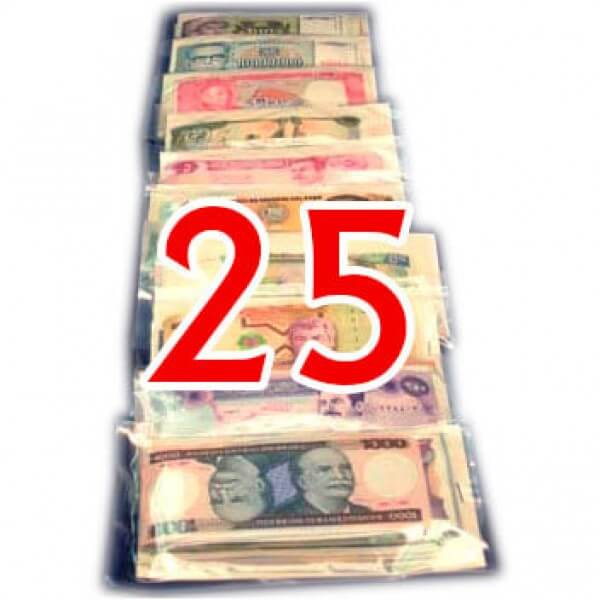25 Billetes  de diferentes Paises ,uno de cada Pais