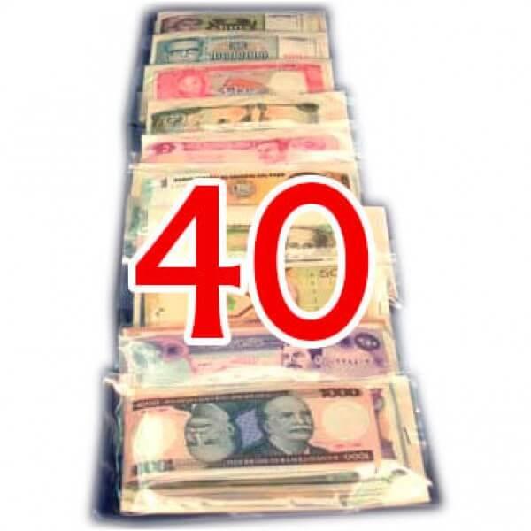 40 Billetes de diferentes Países ,uno de cada País