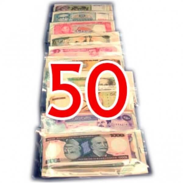 50 Billetes  de diferentes Países ,uno de cada País
