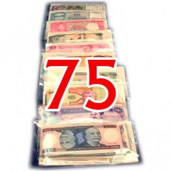75 Billetes  de diferentes Paises ,uno de cada Pais