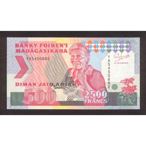 1993 -  Madagascar Pic 72A  2500 Francs =500 Ariary banknote