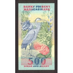 1993 -  Madagascar Pic 72A  2500 Francs =500 Ariary banknote