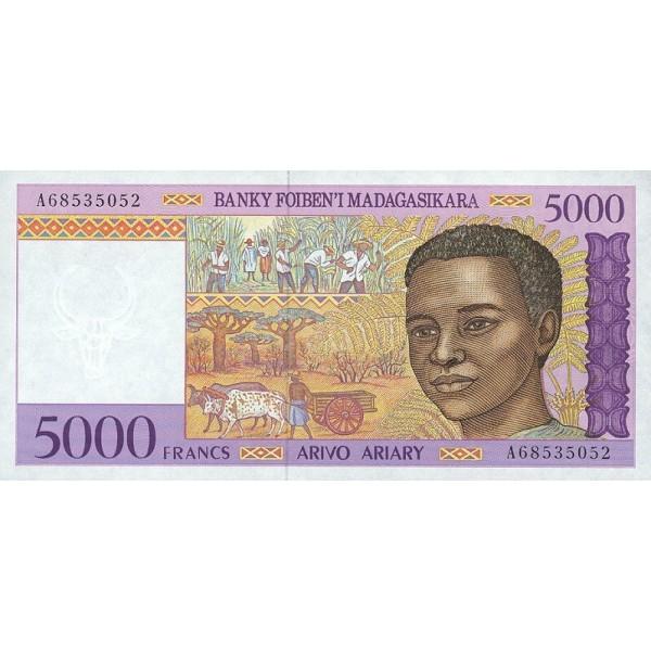 1995 - Madagascar pic 78a billete de 5000 Francos =1000 Ariary