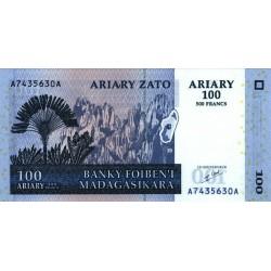 2004 -  Madagascar Pic 86 100 Ariary =500 Francs banknote