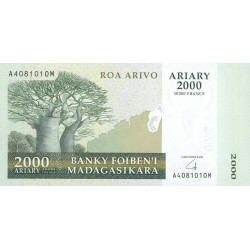 2007 -  Madagascar Pic 90a 2000 Ariary = Francs 10000 banknote