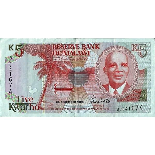 1990 - Malawi PIC 24a    5 Kwacha banknote