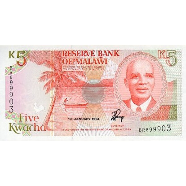 1994 - Malawi pic 24b  billete de 5 Kwacha