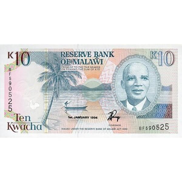 1994 - Malawi pic 25c  billete de 10 Kwacha