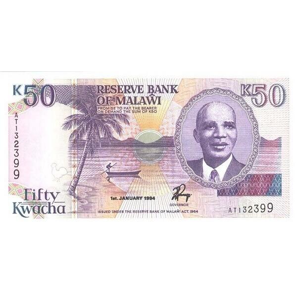 1994 - Malawi pic 28b  billete de 5 Kwacha