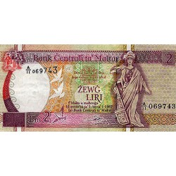 1989 - Malta  Pic 41              2 Pounds banknote