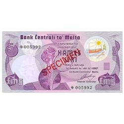 1979 - Malta  Pic CS1 35a                 5 Pound banknote