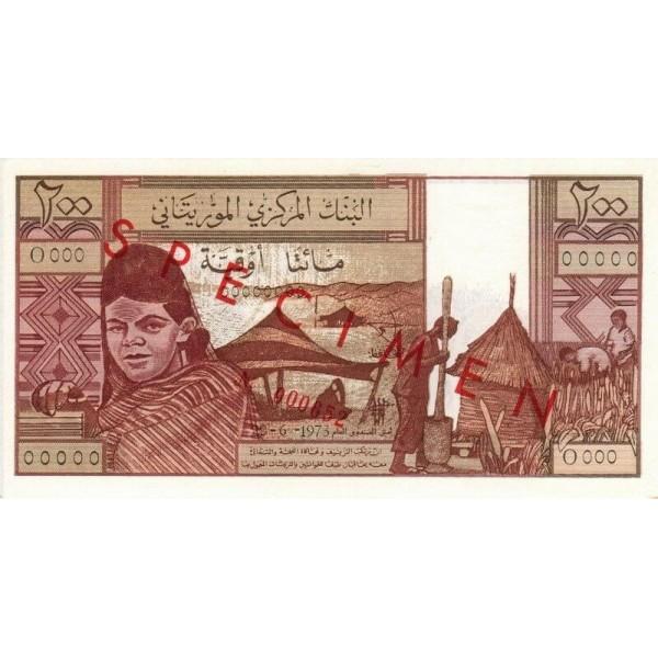 1973 - Mauritania  pic 2s  billete de 200 Ouguiya Especimen