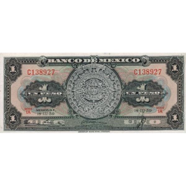 1959 - México P59e billete de  1 Peso