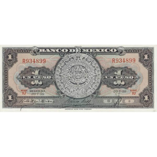 1959 - México P59f billete de  1 Peso