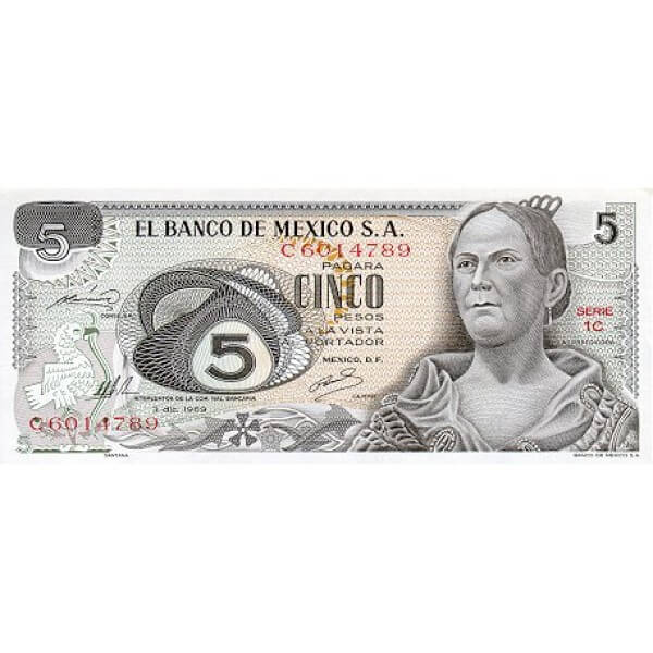 1971 - México P62b billete de 5 Pesos
