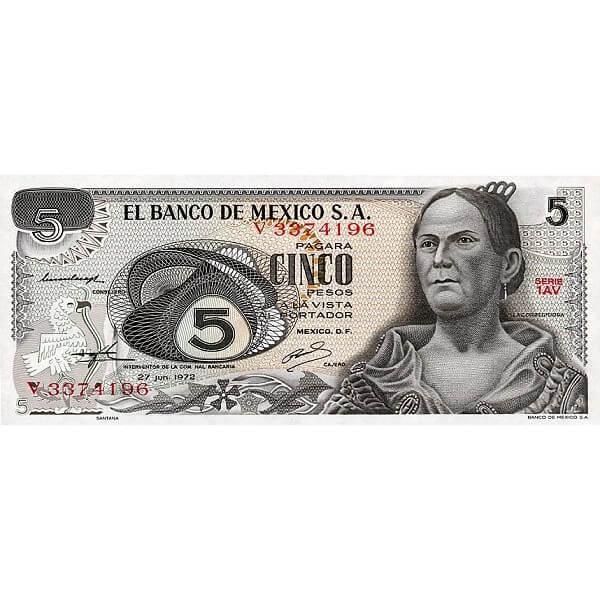 1972 - México P62c billete de 5 Pesos