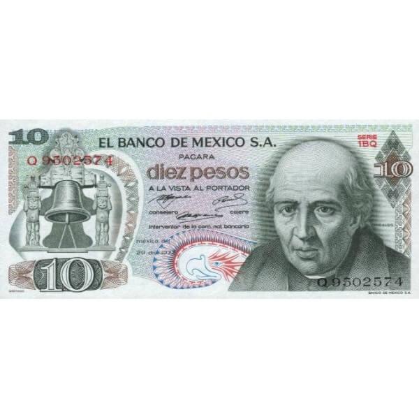 1972 - México P63e billete de 10 Pesos