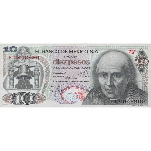 1973 - México P63f billetes de 10 Pesos
