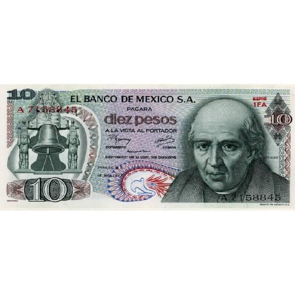 1977 - México P63i billete de 10 Pesos